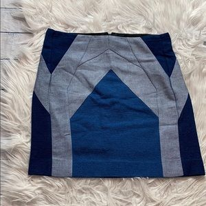 Maje Blue Colorblock Patterned Skirt NWT e13candis
